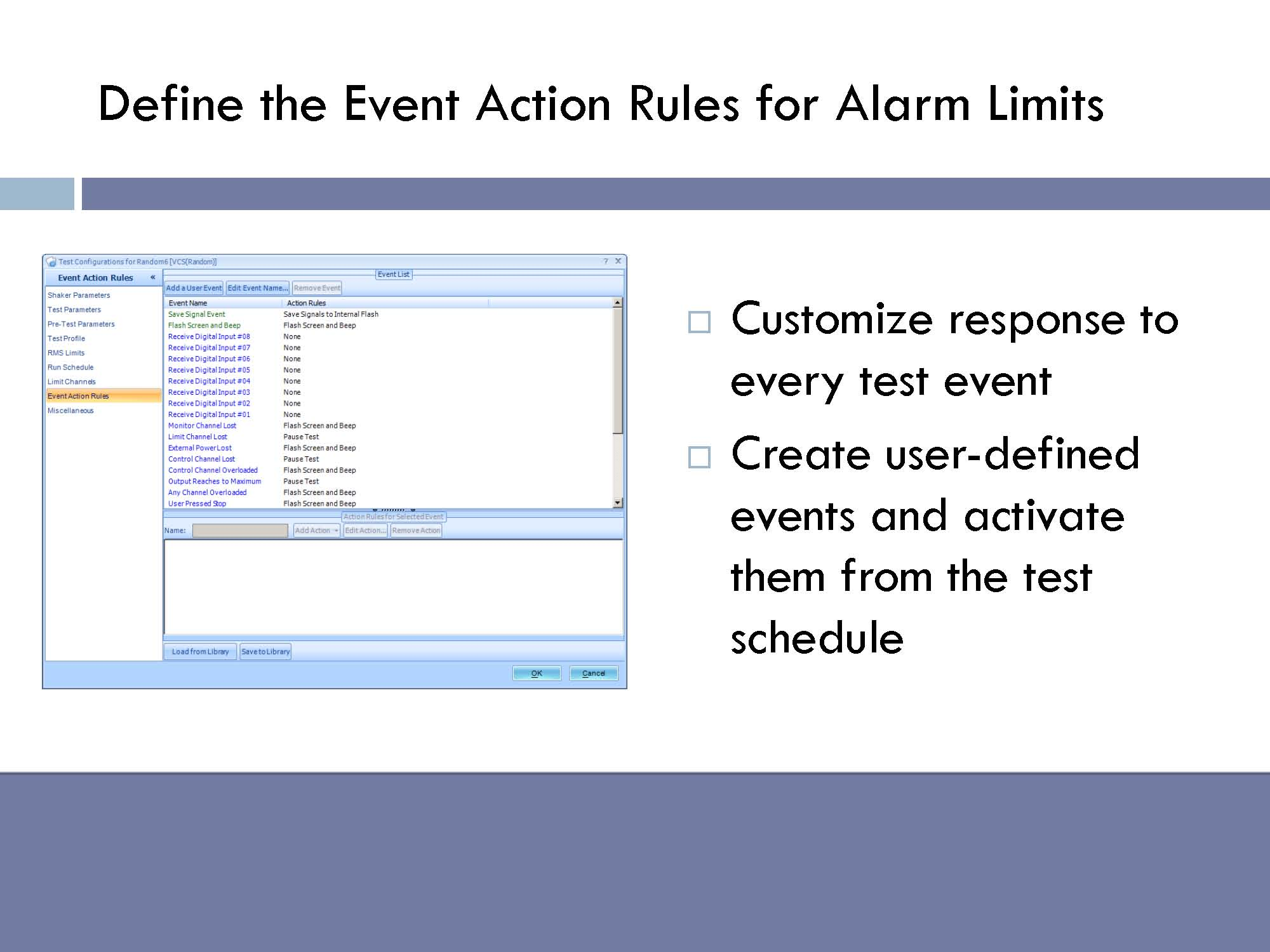 Define the event action rules for alarm limits. Customize response to every test event. Create user-defined events and activate them from the test schedule.