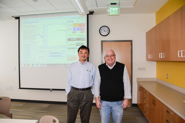 James Zhuge (President & CEO of Crystal Instruments) with J. Stuart Bolton (Professor of Mechanical Engineering) at Purdue University