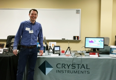 Crystal Instruments' North American Sales Director, Darren Fraser, displays Crystal technology at the conference.