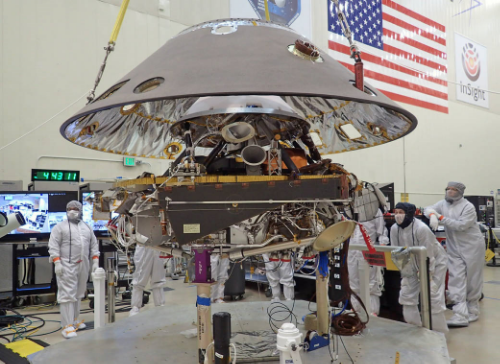 The shell of NASA's InSight Spacecraft lowered onto the mission's lander. Image credit: www.NASA.gov. This post is not endorsed by NASA.