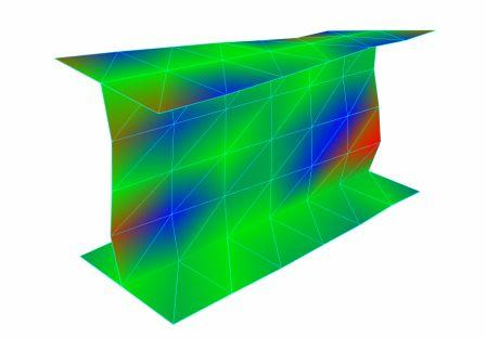 Figure 32. Modal analysis of an I-beam structure with deformed geometry and color shading.
