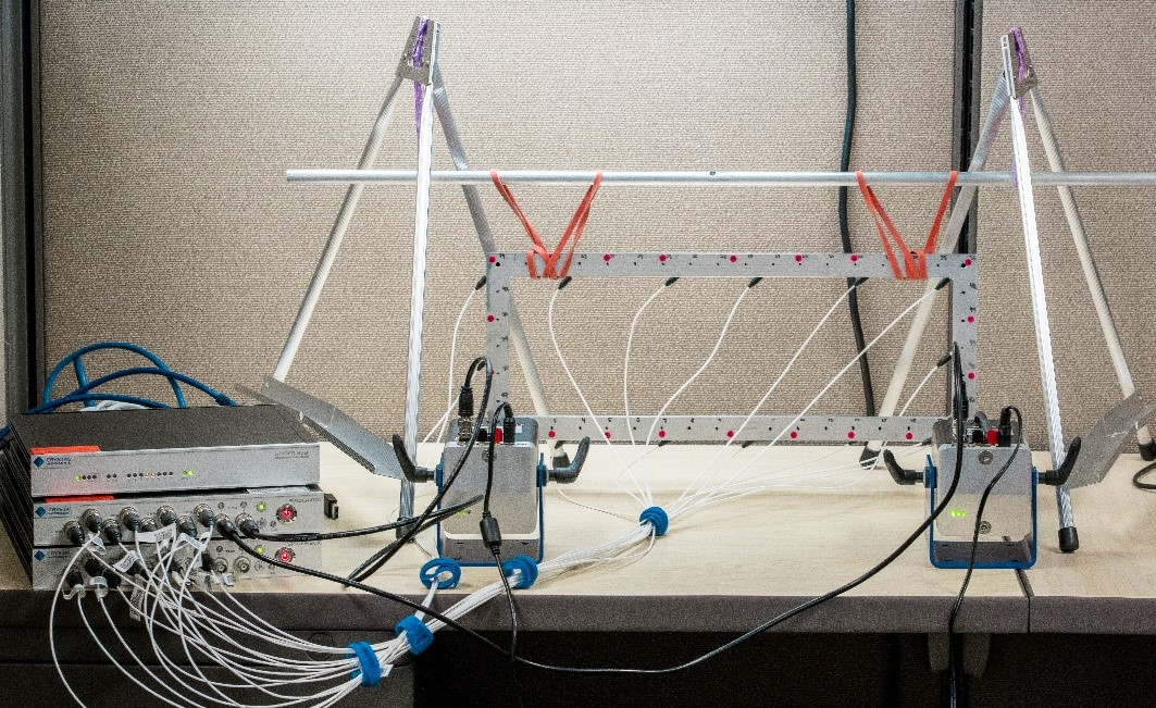 Figure 1. Modal Shaker Testing using the Spider-80X front-ends