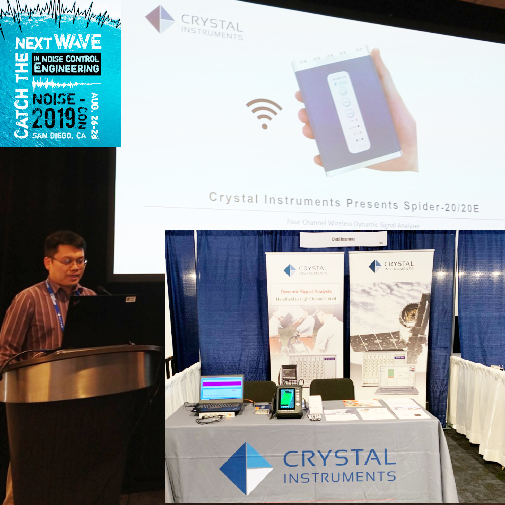 Matt Chen presents the handheld    Spider-20 dynamic signal analyzer    at the 2019 National Conference on Noise Control Engineering.