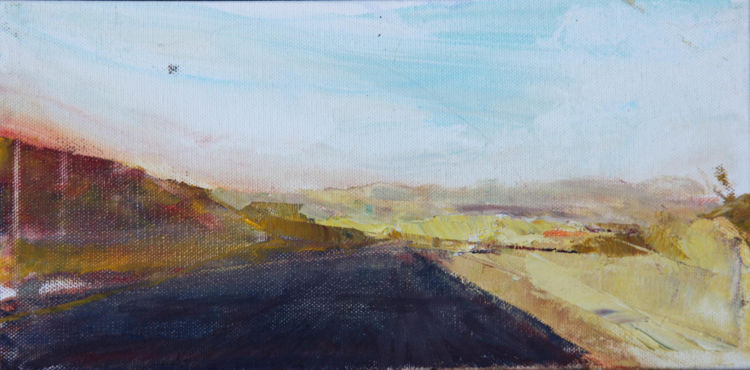 """Desert Road 1   oil   6""""x12"""""""