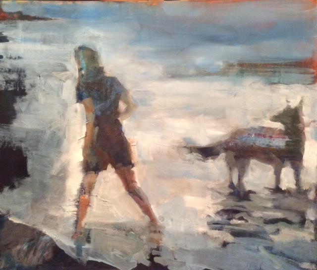 """girl and dog   oil   18""""x24"""""""