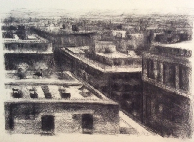 View from Perch.  Charcoal