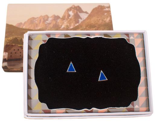 Sterling Silver enamel triangle blue