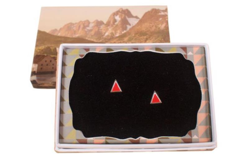 Sterling Silver enamel triangle red