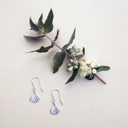 Sterling Silver ginko fan earring