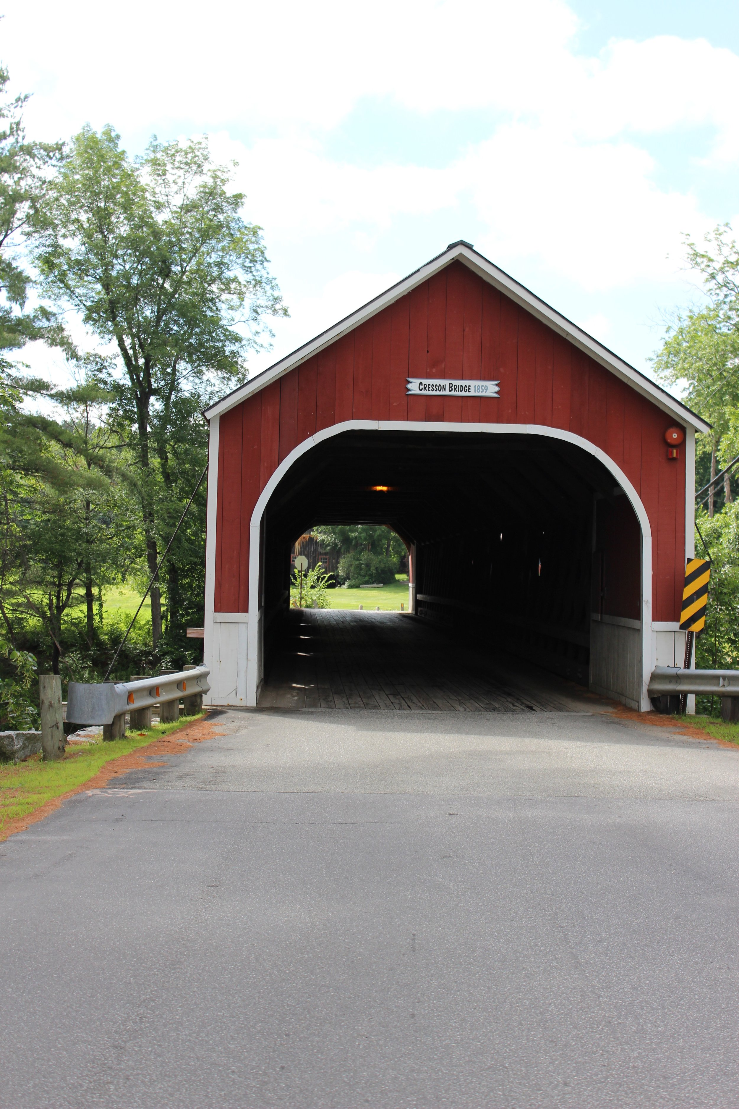 When you come visit check out the covered bridge at the end of our road!