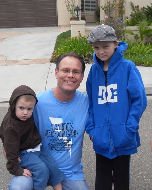 During Nick's (right) battle with medulloblastoma.