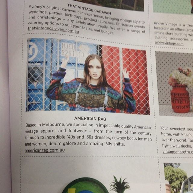 Frankie Magazine    American Rag was featured in the lovely Frankie Magazine, it recommended the best vintage stores throughout Australia. Thanks for the write up and the gorgeous photo shot by talented photographer, Jamie Sbeghen.    xx