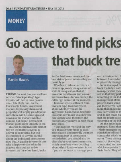"""Sunday Star Times: """"Go active to find picks that buck trend"""" - July 2012"""
