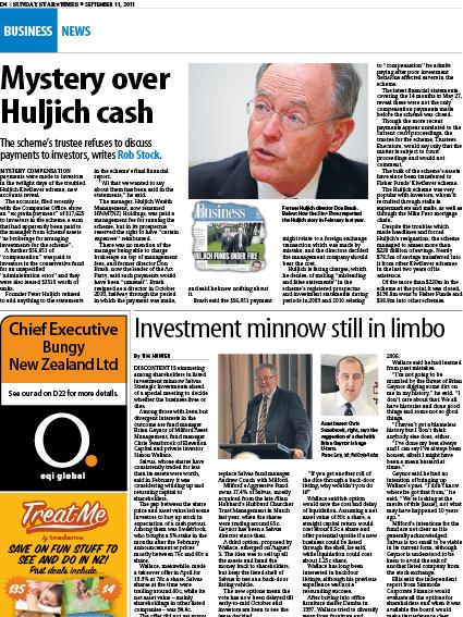 "Sunday Star Times: ""Investment minnow still in limbo"" - September 2011"