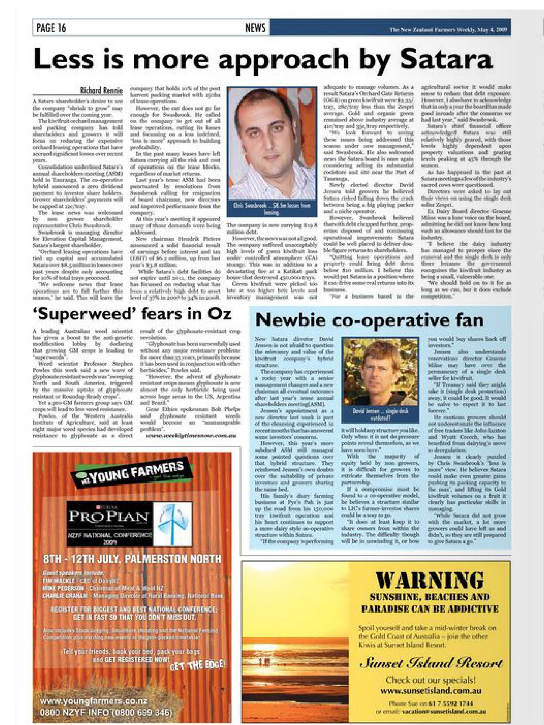 """NZ Farmers Weekly: """"Satara"""" – May 2009"""