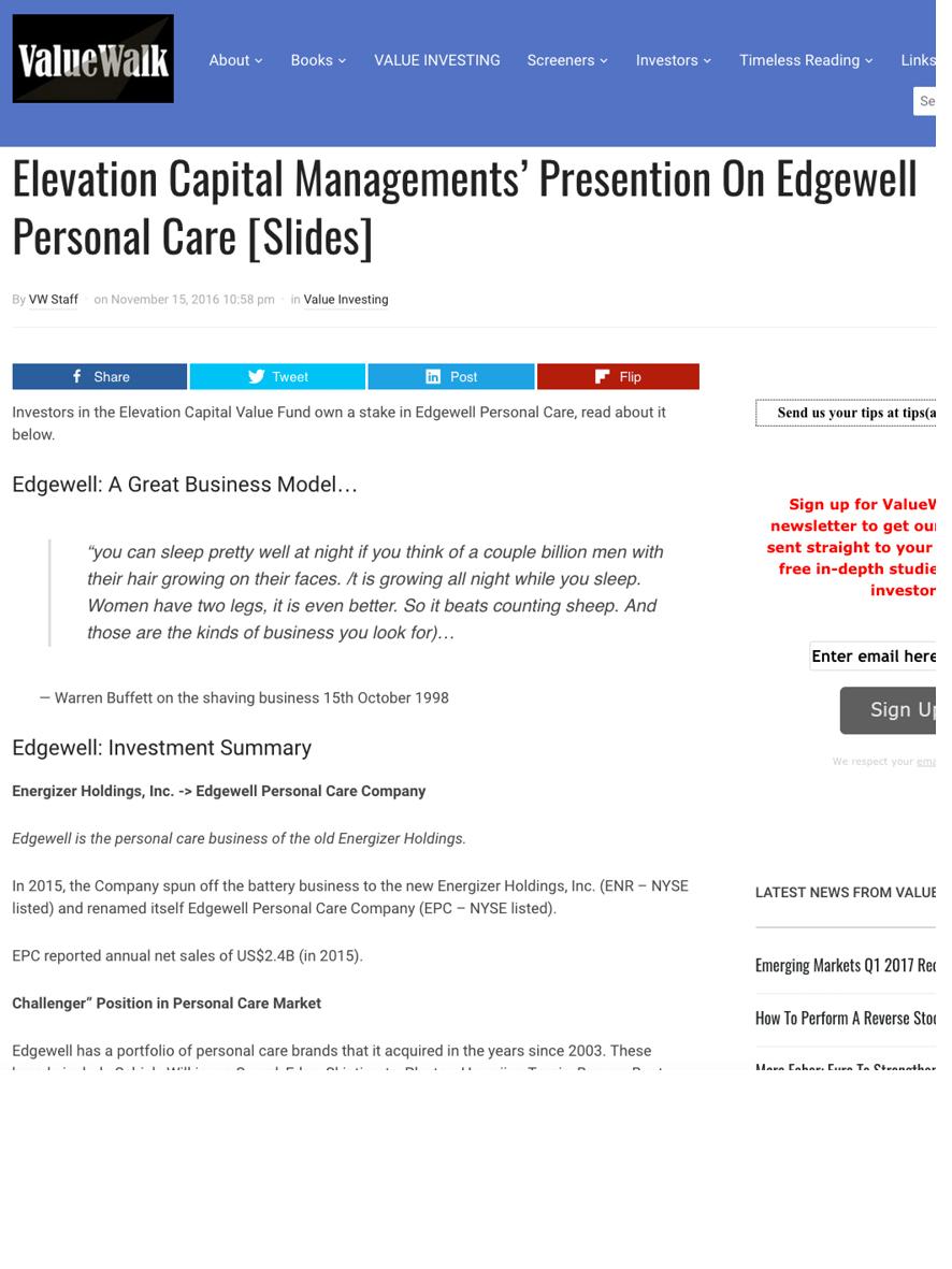 Valuewalk.com: Elevation Capital's Presentation on Edgewell Personal Care - November 2016