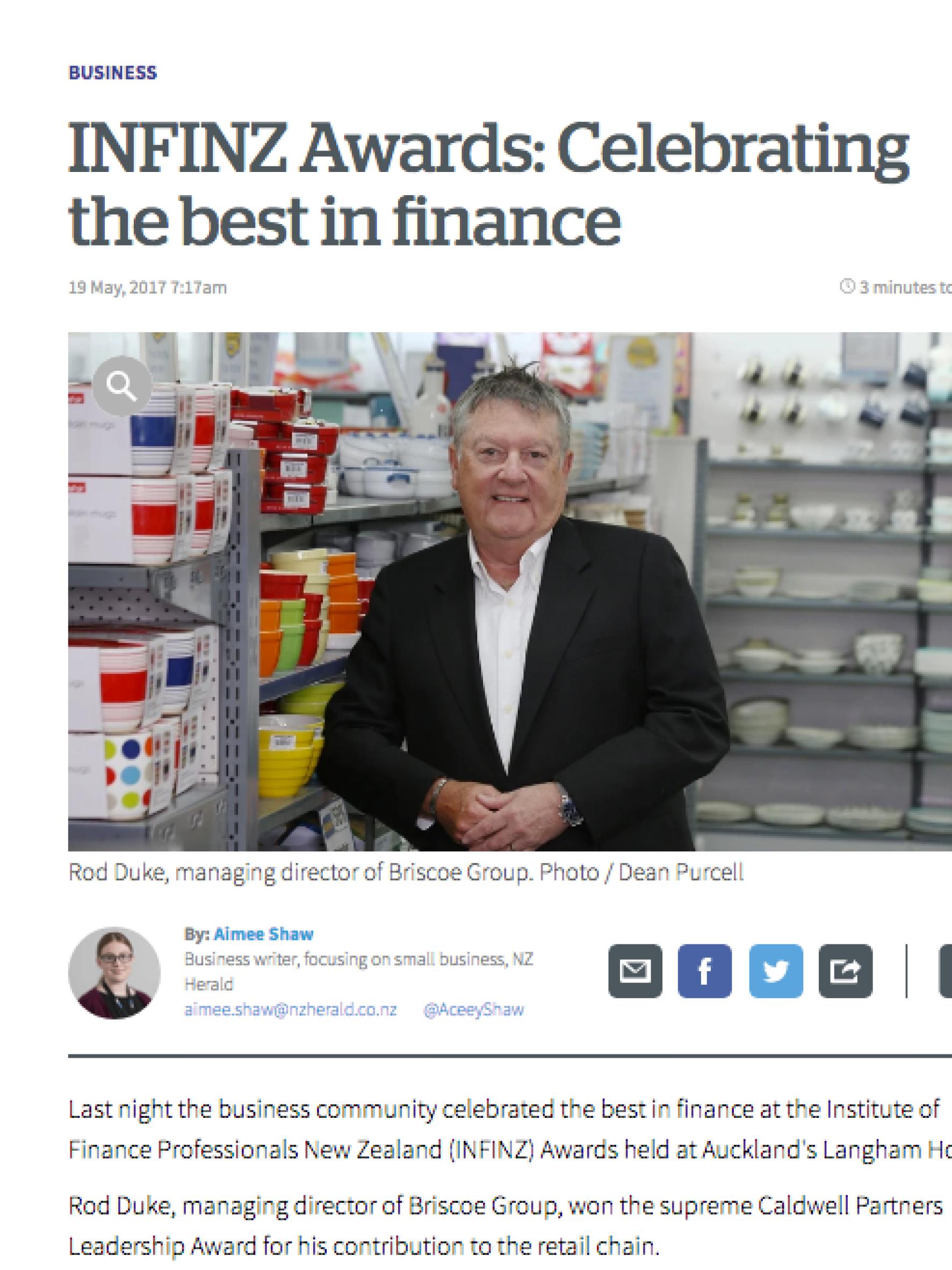 NZ Herald: INFINZ - Emerging Leader of the Year 2017 - Richard Milsom - May 2017