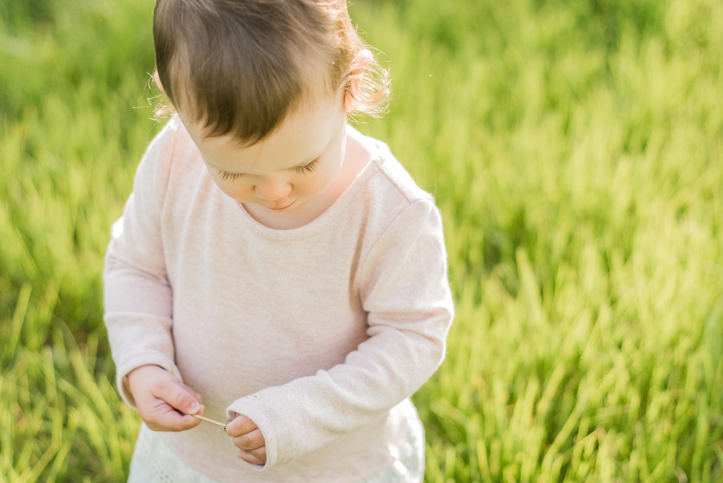 spring, girl, field