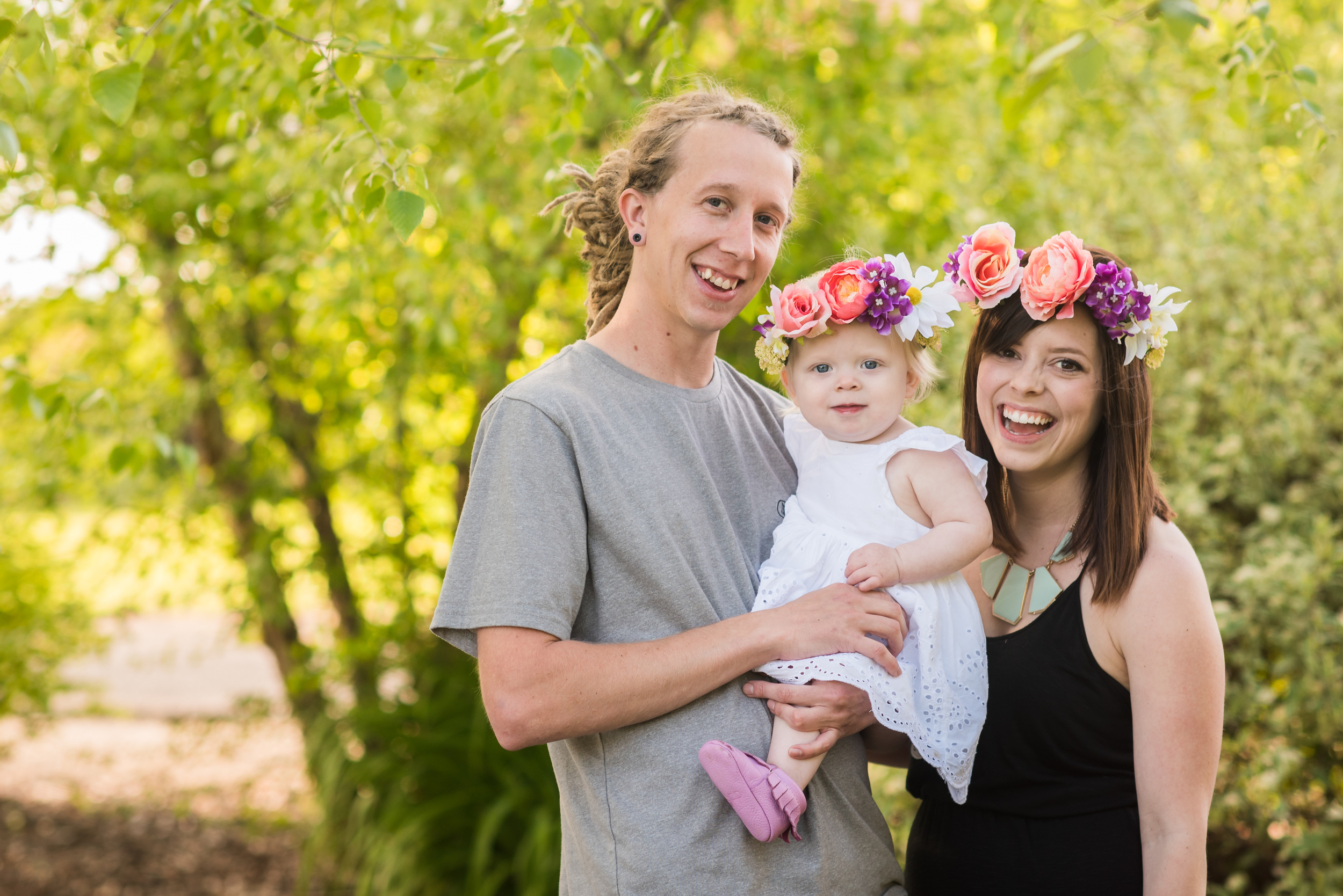 family, first birthday, floral crown