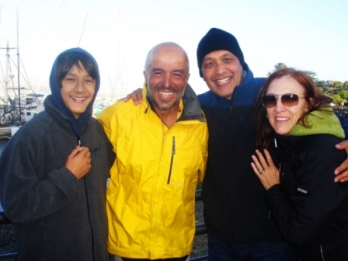 Jospeh Anaya and family celebrating with Erden upon arrival at Bodega Bay, CA on July 21, 2012