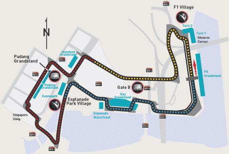 F1 2012 Singapore Circuit Map