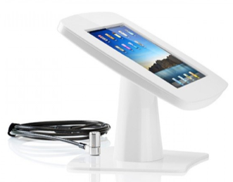 "iPad 9.7"" kiosk table top stand with security lock, key, and steel cable"