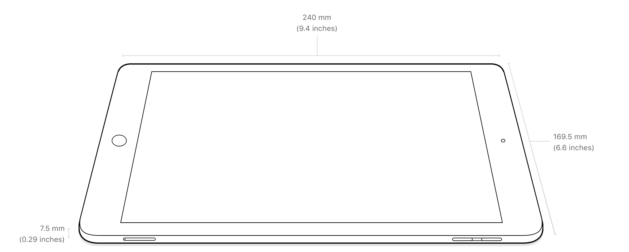 """Dimensions of the iPad 9.7"""" (2017) and iPad Air"""