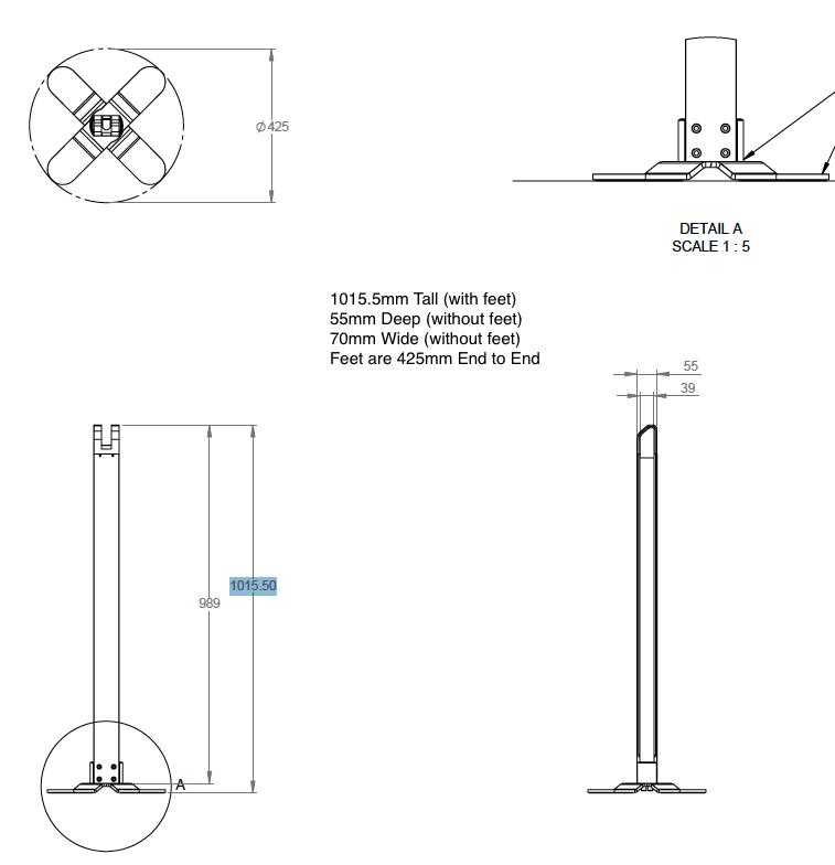 Dimensions of Floor Proper Kiosk (Aluminium) for iPad 9.7 / iPad Pro 12.9 / Samsung Tab S2