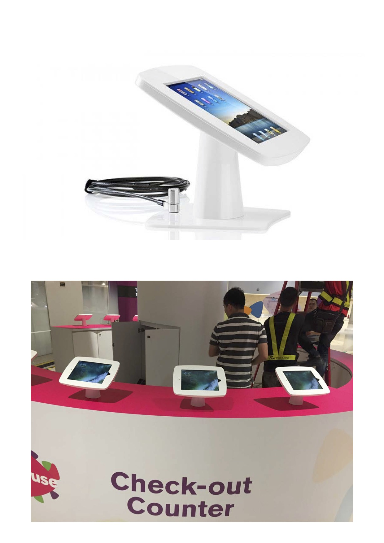 """Dimensions for Table Top / Wall Mounted Kiosk (White) for iPad 9.7"""""""