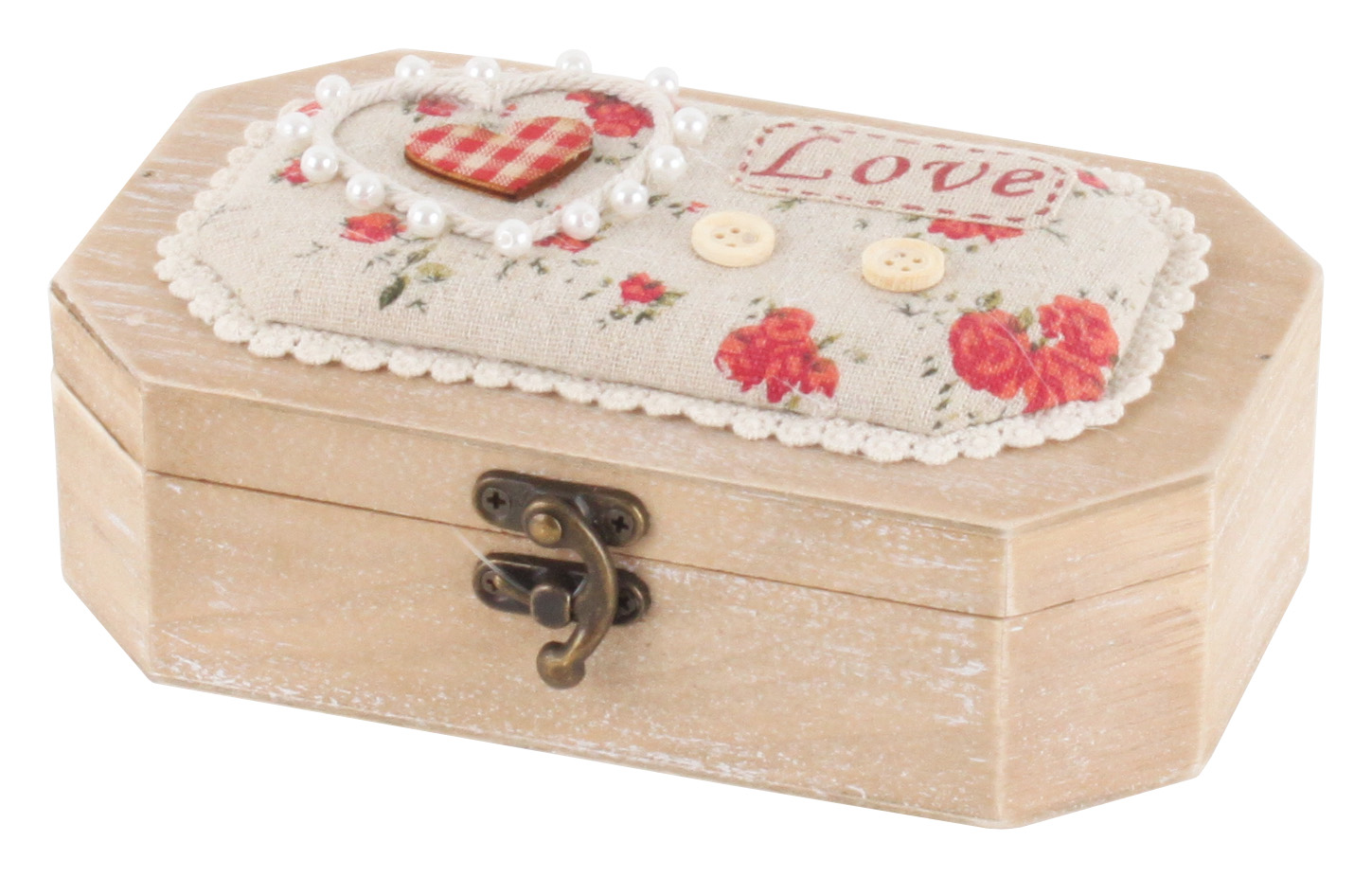 €18 WOODEN WALL BOX W/ FABRIC DETAILS 20X13X7