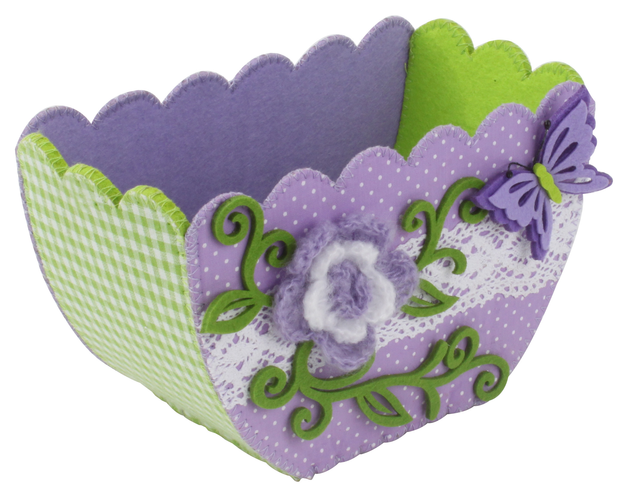 €6 FLOWER FELT BASKET IN PURPLE COLOR 21X10X12
