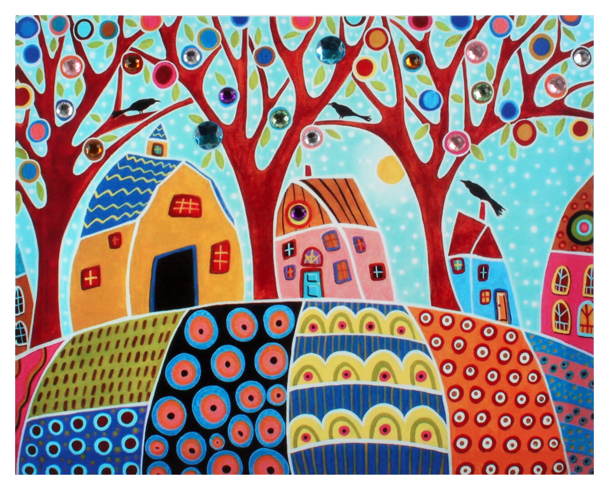 €18 WALL PAINTING PRINTED CANVAS W/STONES 50Χ2Χ40