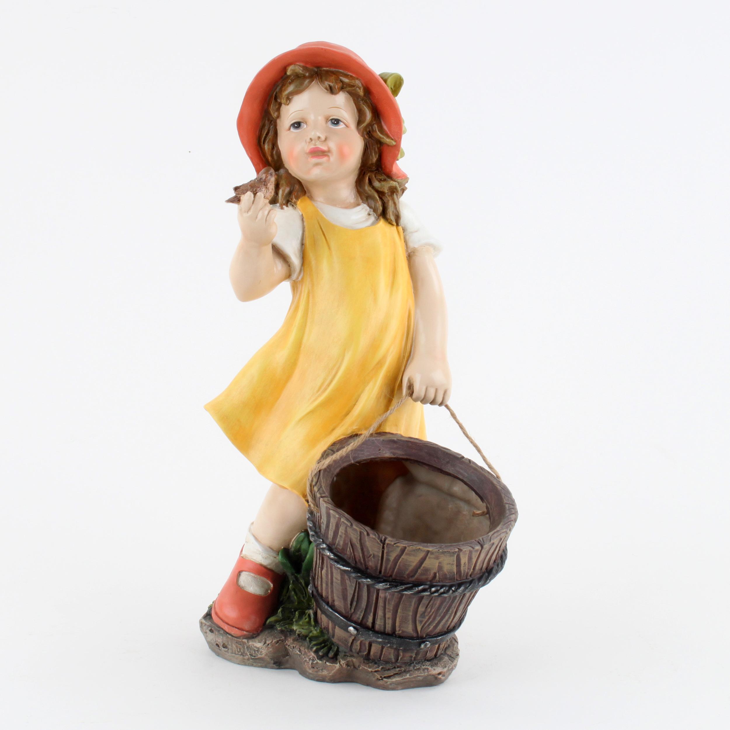 €44 STANDING POLYRESIN GIRL W/BASKET 23Χ17Χ40