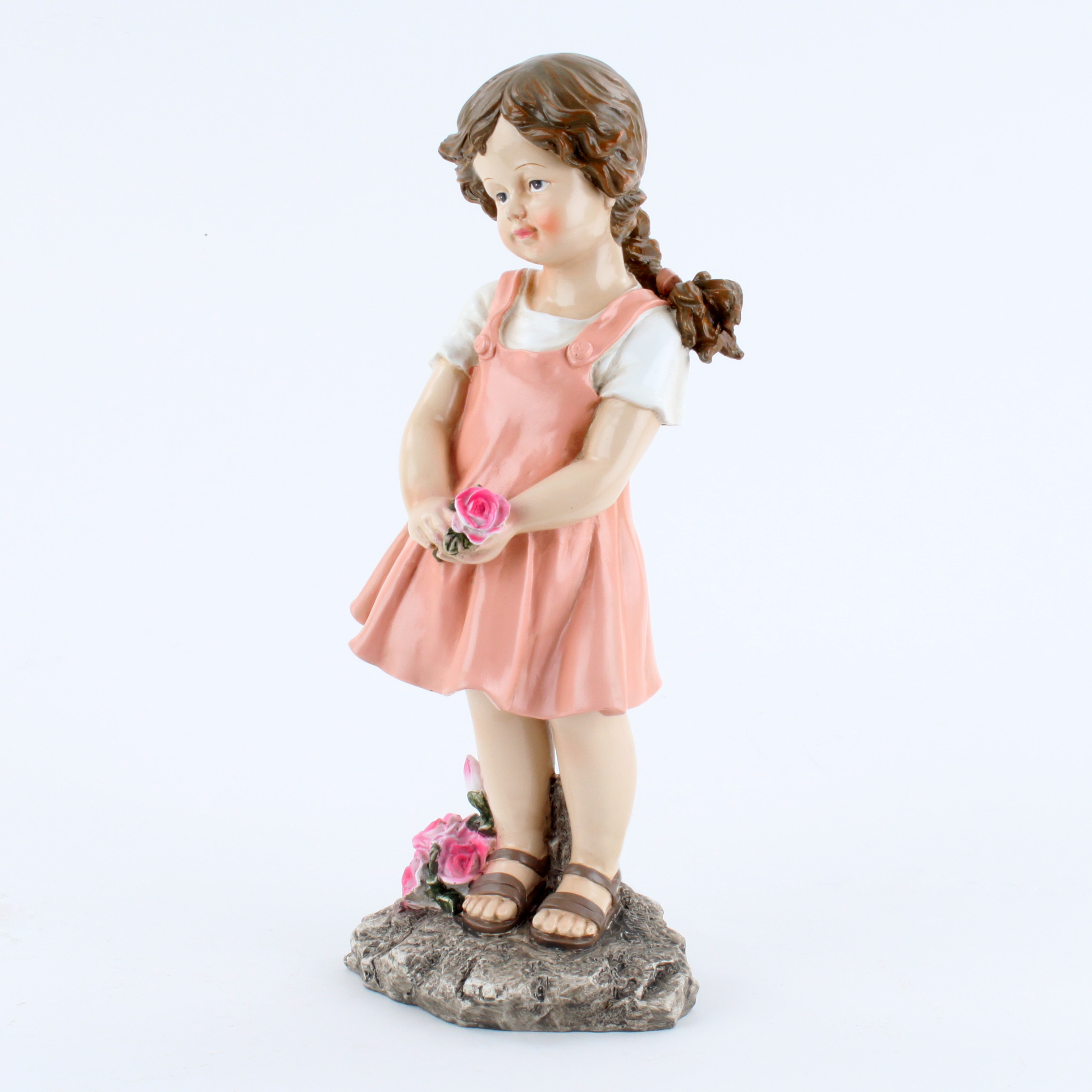 €28 STANDING POLYRESIN GIRL W/ROSES 21X13X41