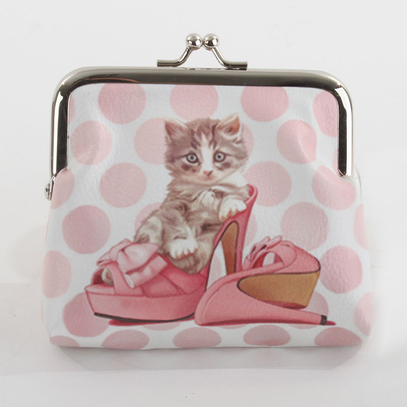 €8 COIN PU PURSE BAG W/CAT 11Χ3X12