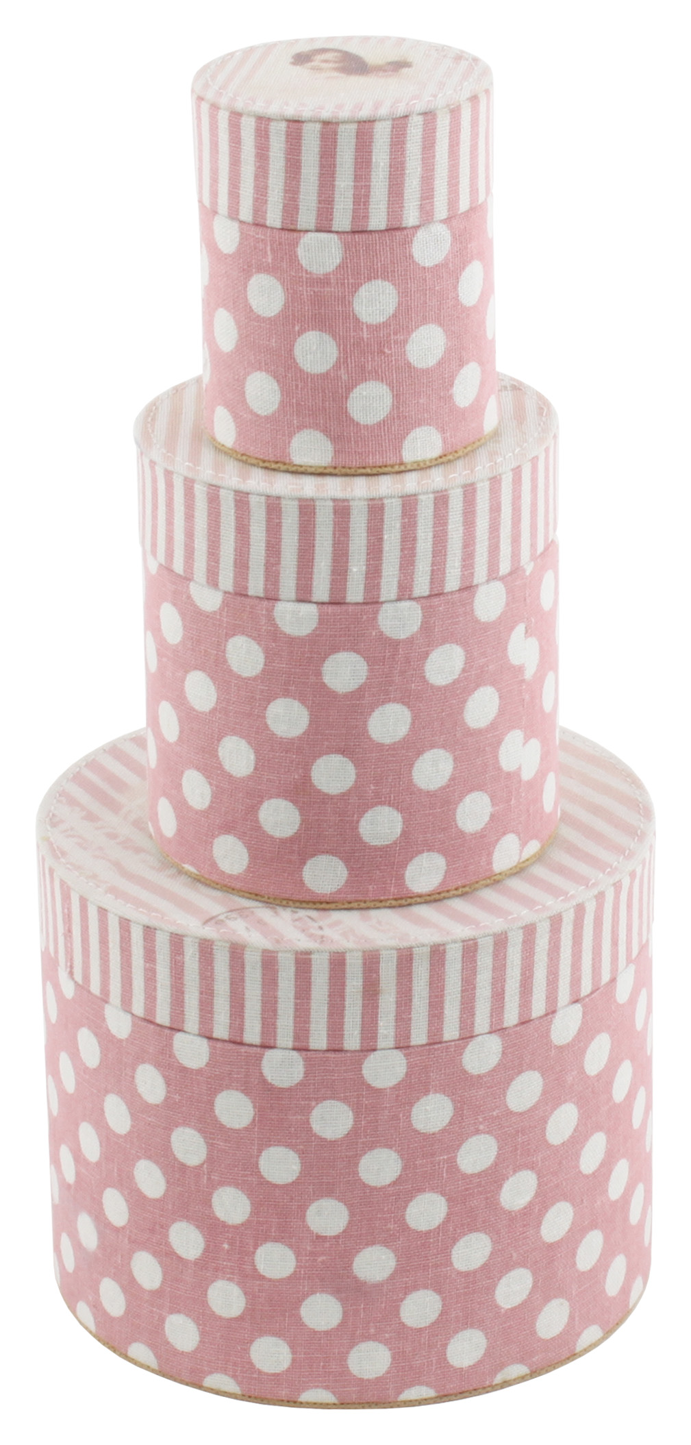 €27 S/3 FABRIC BOX W/PINK STRIPES AND DOTS 15x12.5 (10% cotton/10% linen/80% polyester)
