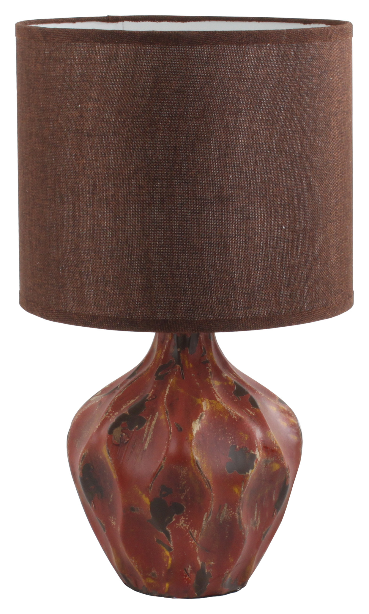 €55 CERAMIC TABLE LAMP IN DARK RED W/FABRIC SHADE 28Χ48 (POLYESTER)
