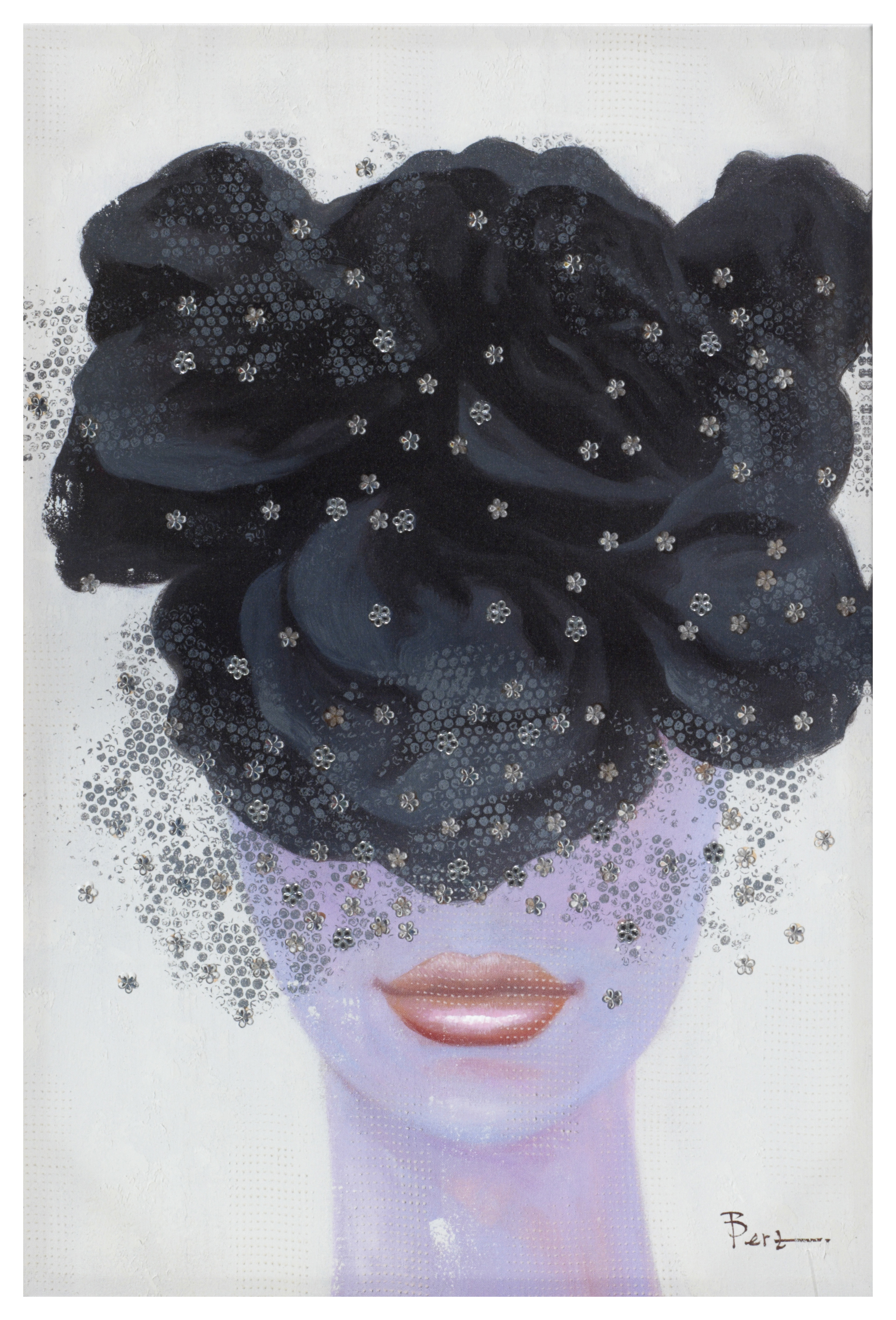 €65 PRINTED WALL PAINTING WITH WOMAN'S FACE AND STRASS 60X90