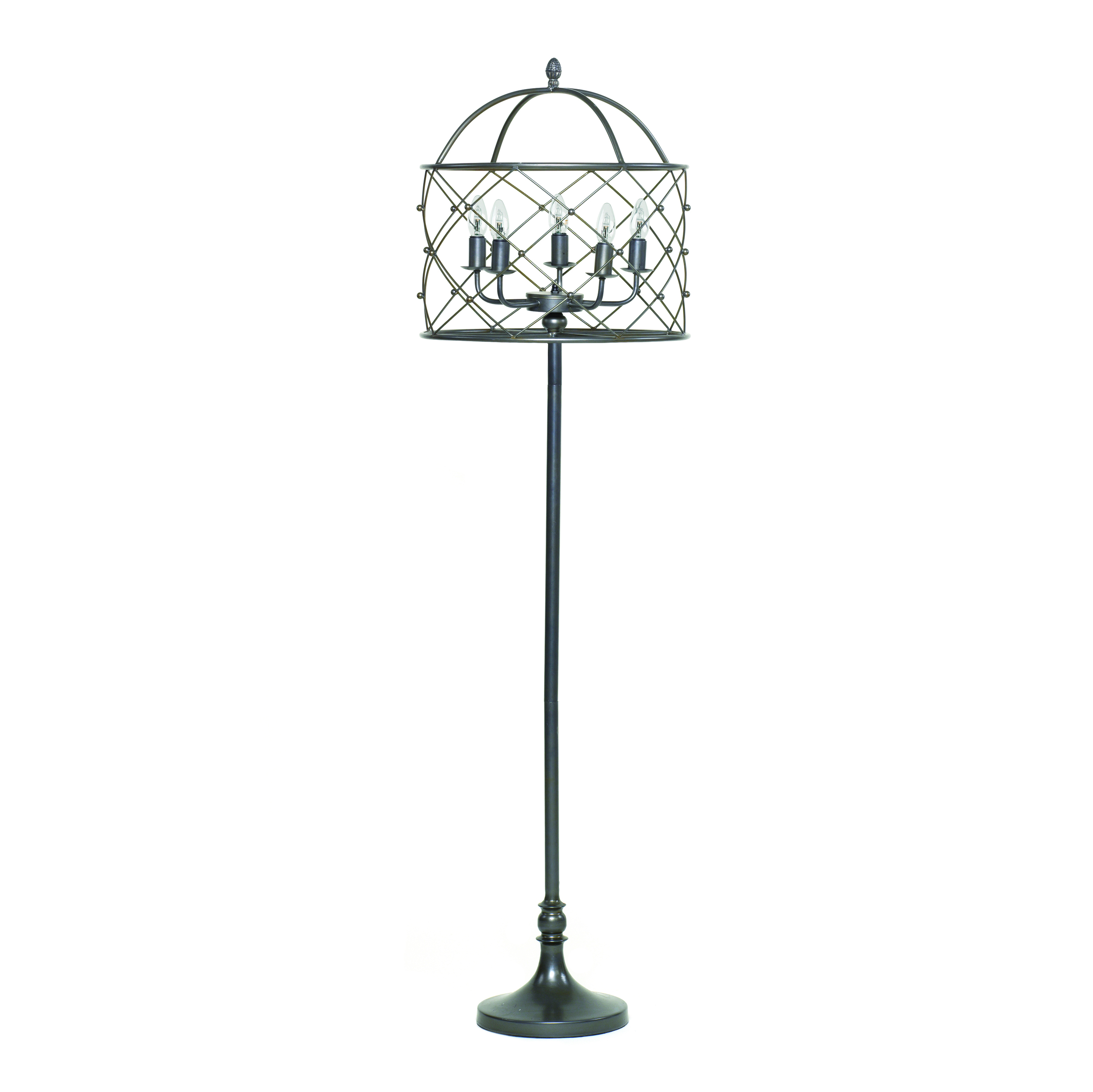 €240 METAL FLOOR LAMP/CAGE W/5 LIGHTS 46X166
