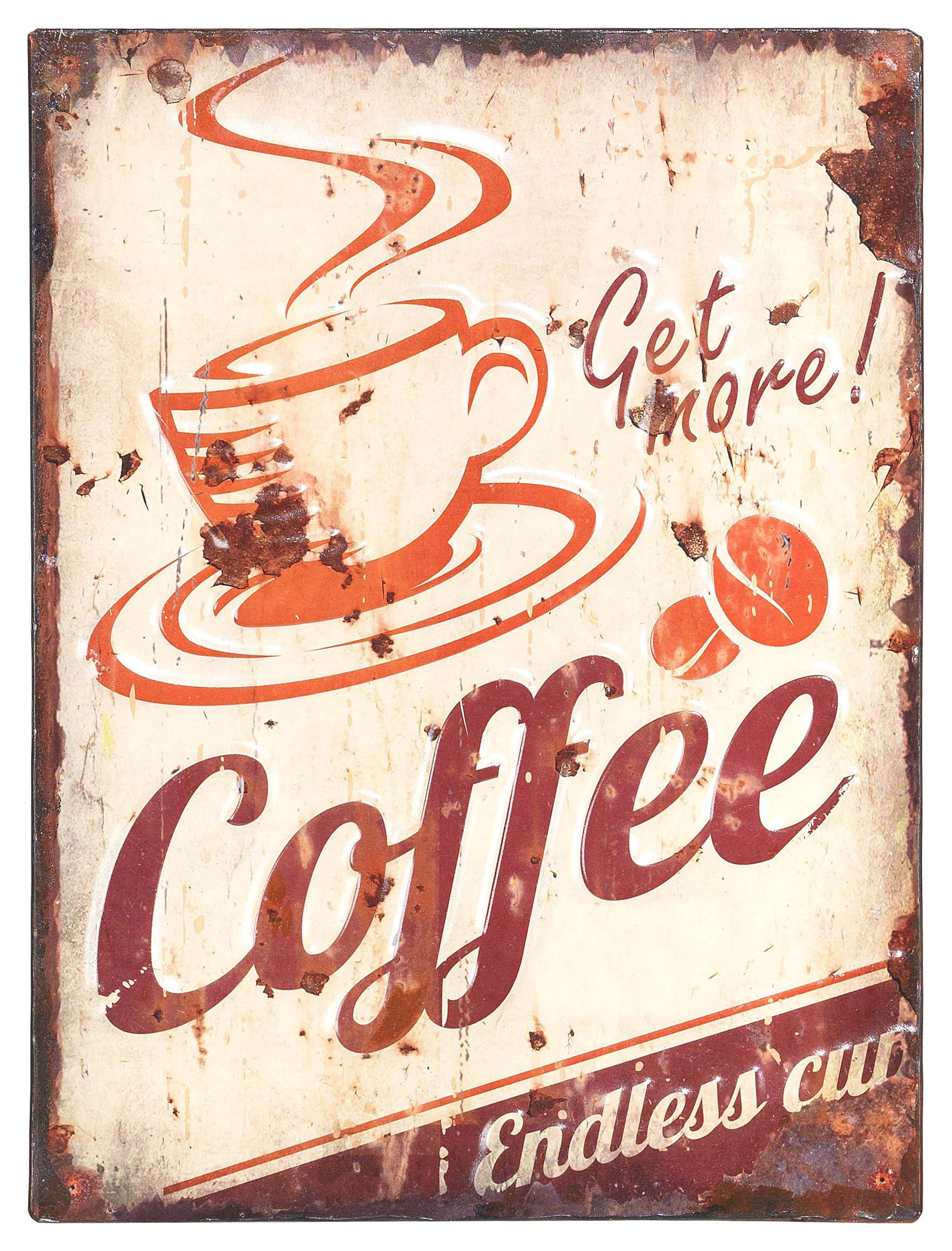 €18 METAL WALL PRINTED PAINTING 'COFFEE' BROWN 30Χ40