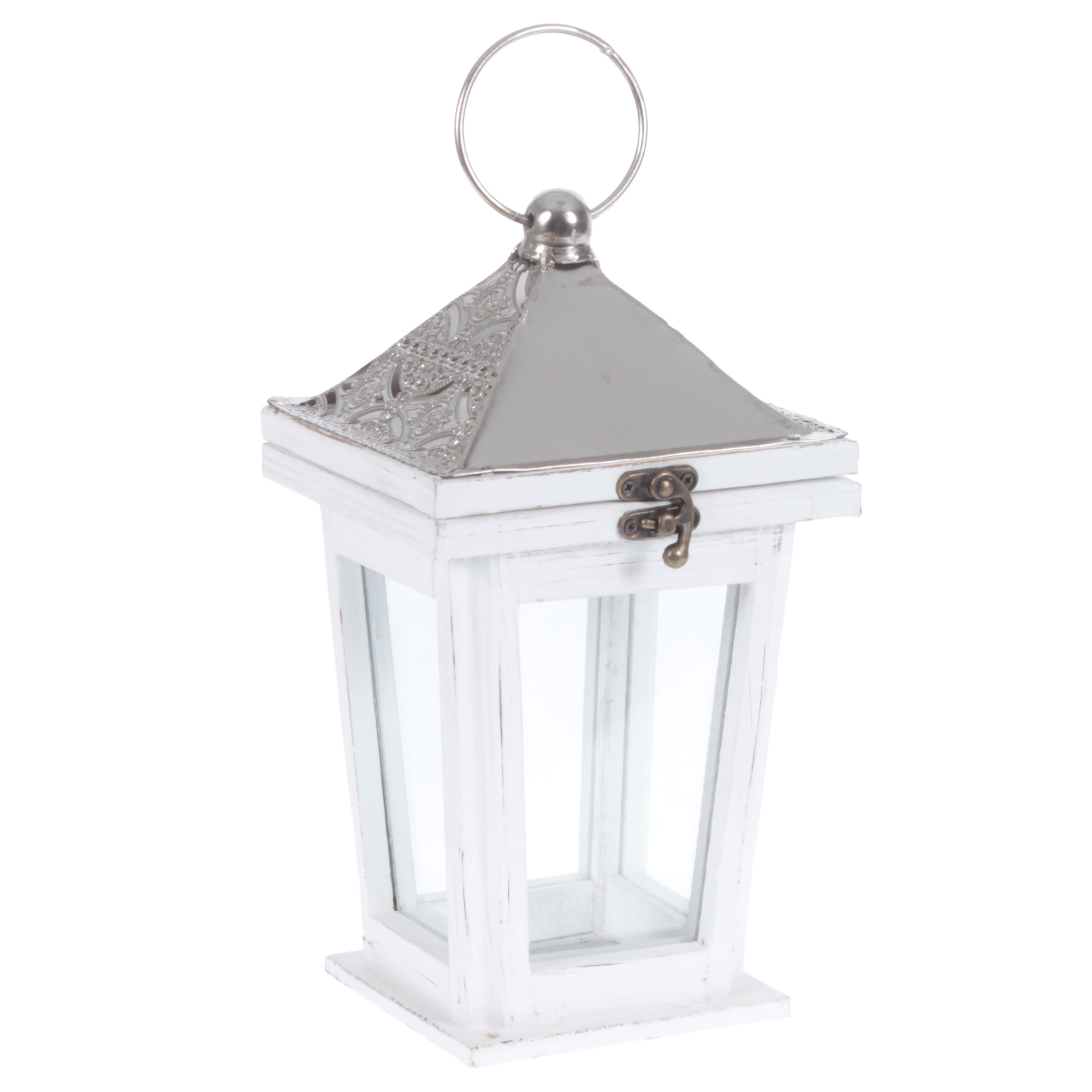 €26 WOODEN/METAL LANTERN IN WHITE/SILVER COLOR 15X15X27