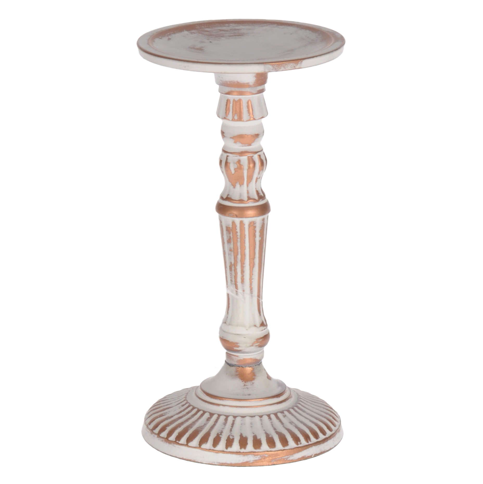 €20 ALUMINIUM CANDLE HOLDER IN ANTIQUE WHITE COLOR 10X18.5