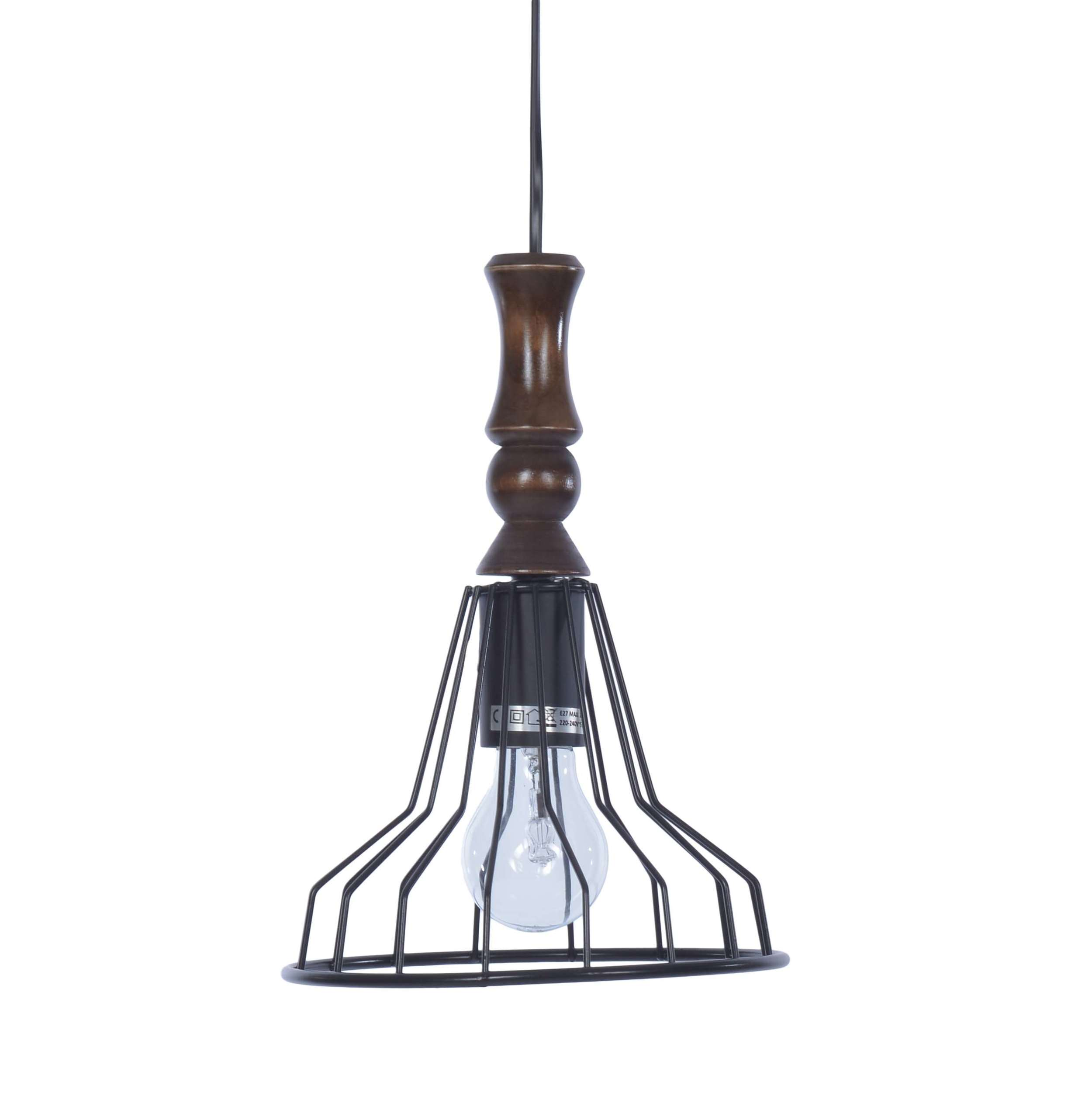 €45 METAL CELING LAMP IN BLACK COLOR  21Χ21Χ35/105