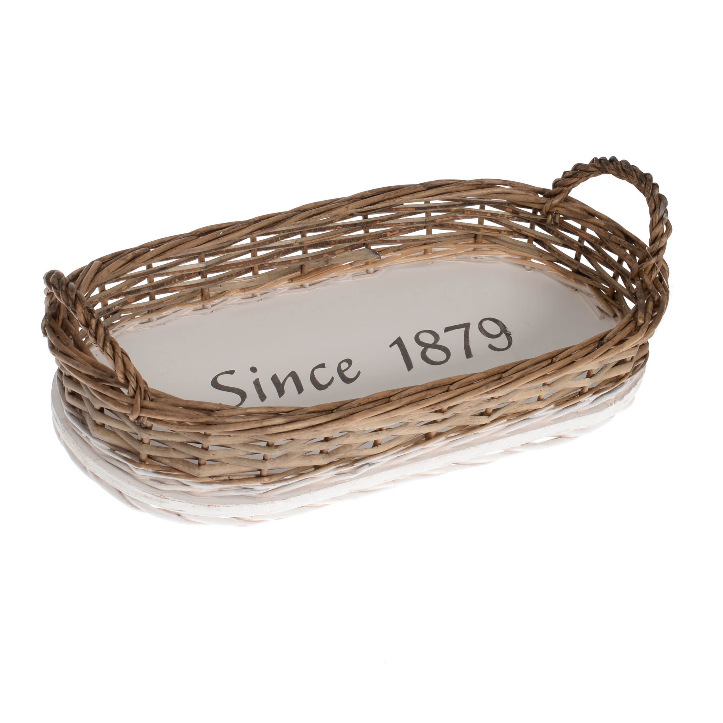 €25 WILLOW/MDF TRAY  'SINCE 1879' 44X22X10