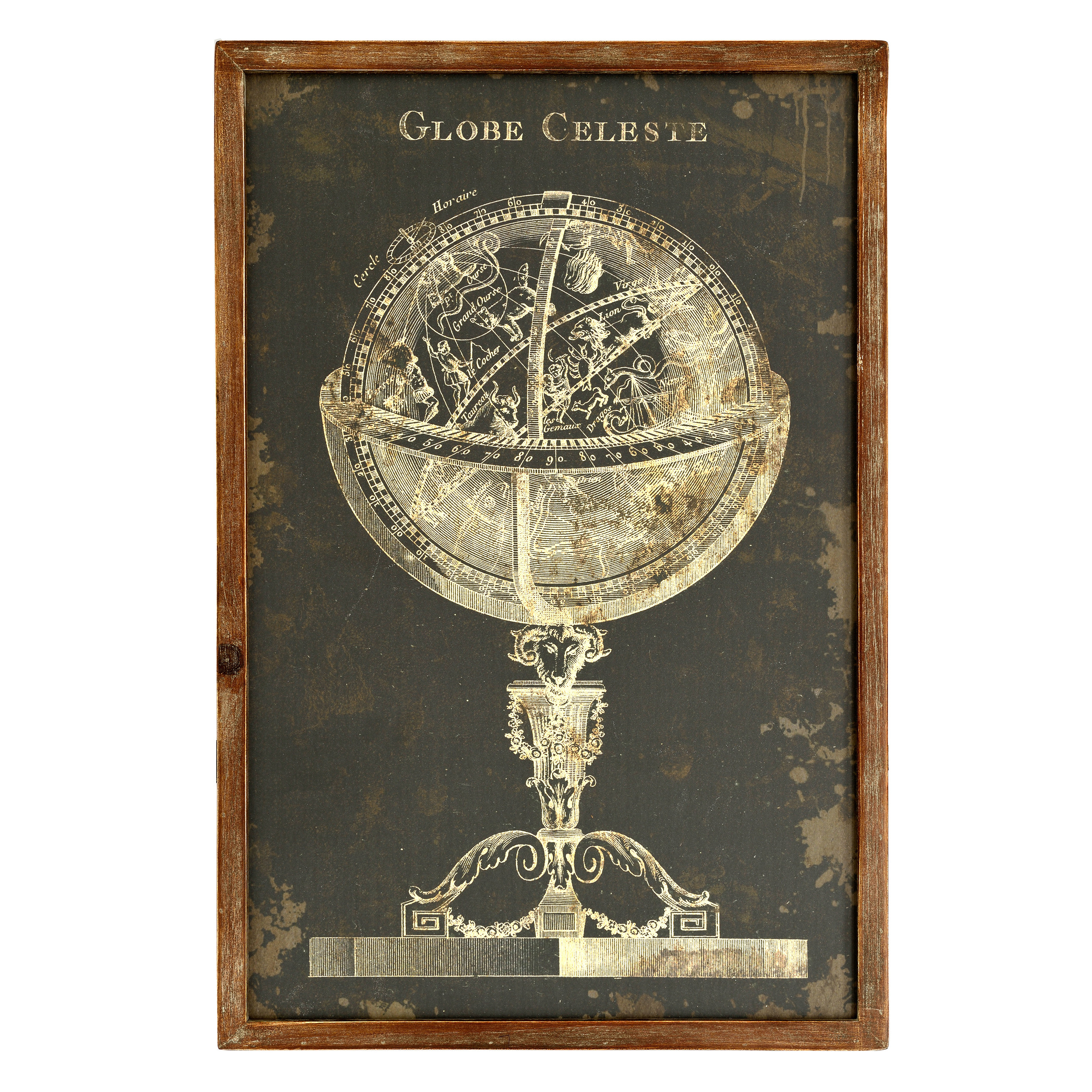 €58 WOODEN WALL PAINTING W/GLOBAL 40X4X60