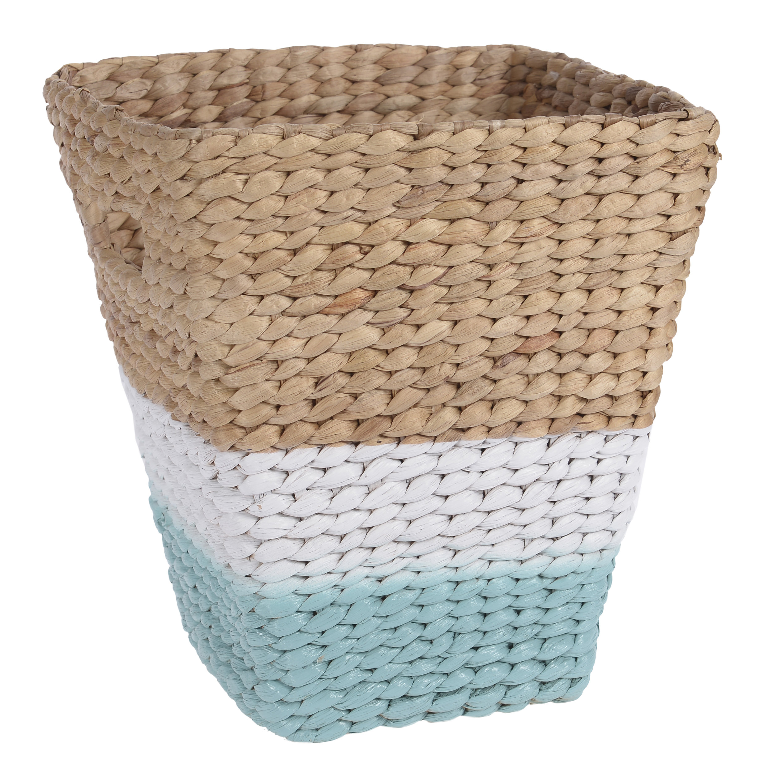 €25 WATER HYACINTH BASKET IN TURQUOISE/NATURAL COLOR 29X26X30