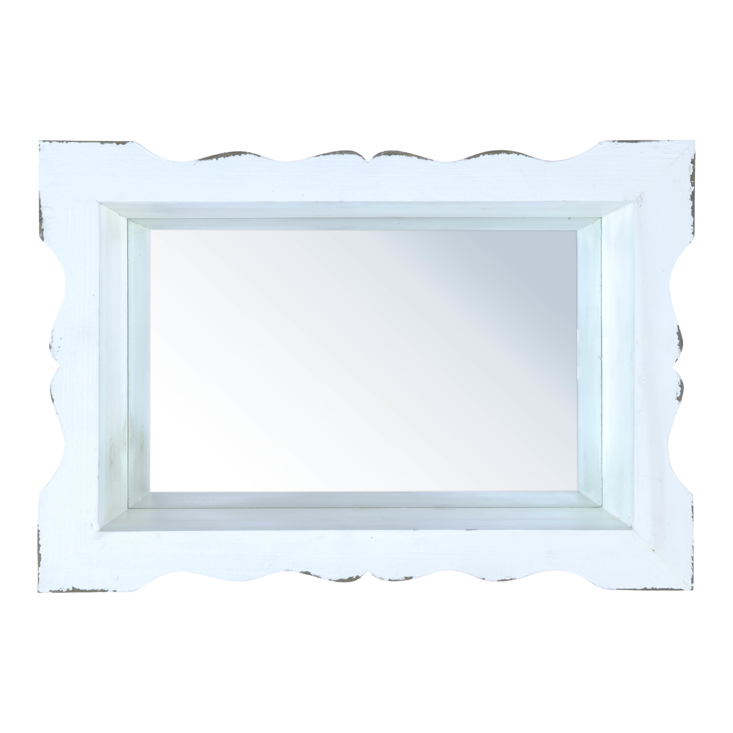 €40 WOODEN WALL MIRROR IN ANTIQUE WHITE COLOR 44Χ14Χ30
