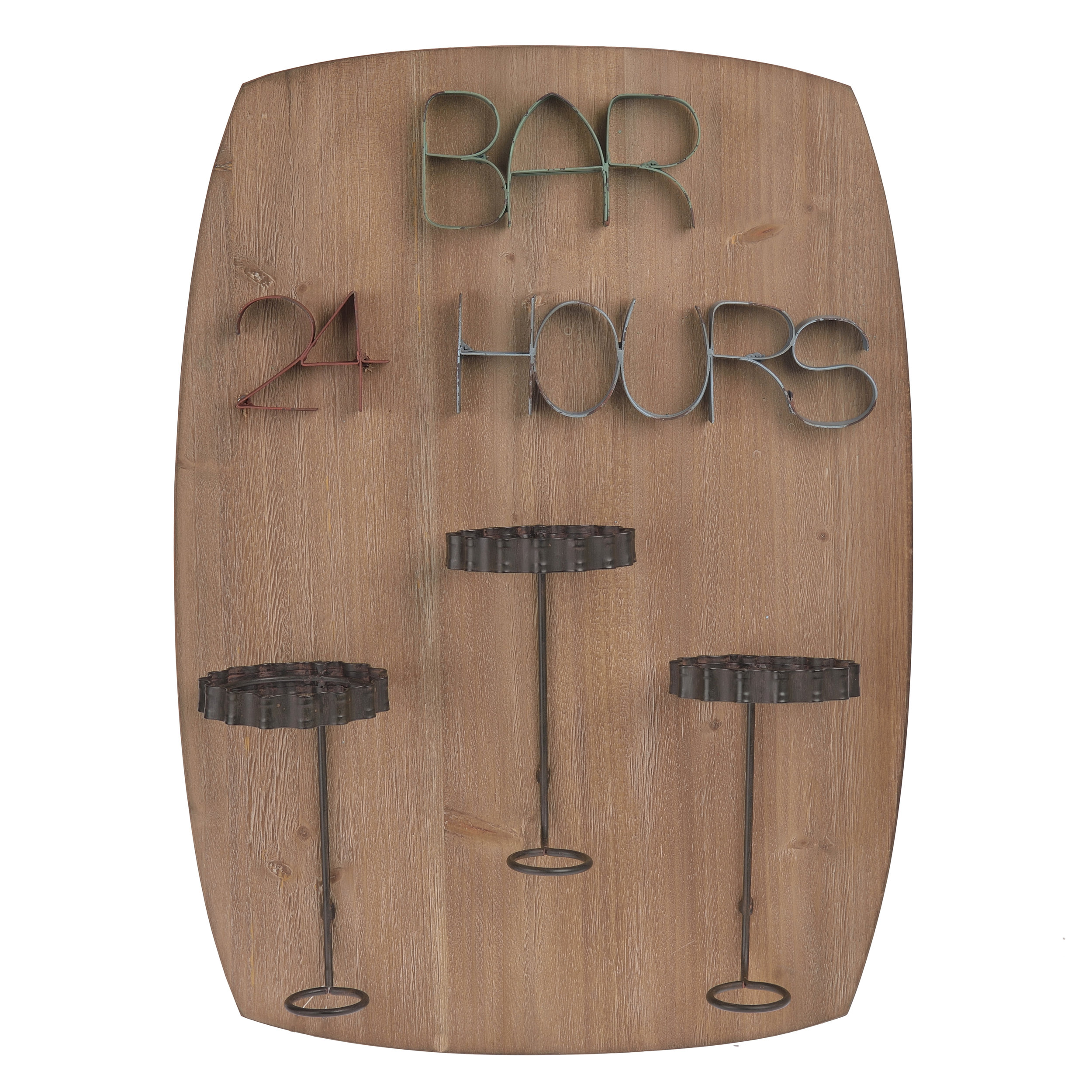 €70 METAL/WOODEN WALL BOTTLER HOLDER 'BAR' 44X13X60