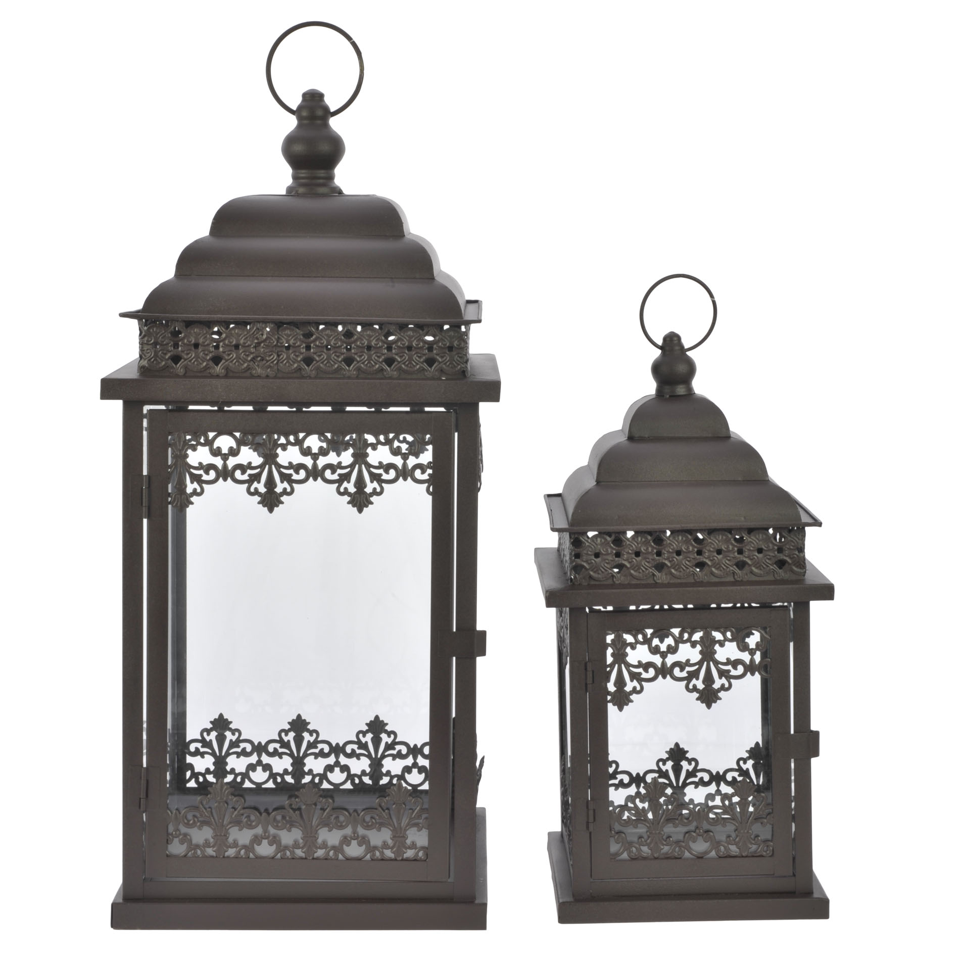 €120 S/2 IRON BROWN LANTERN 23X23X50