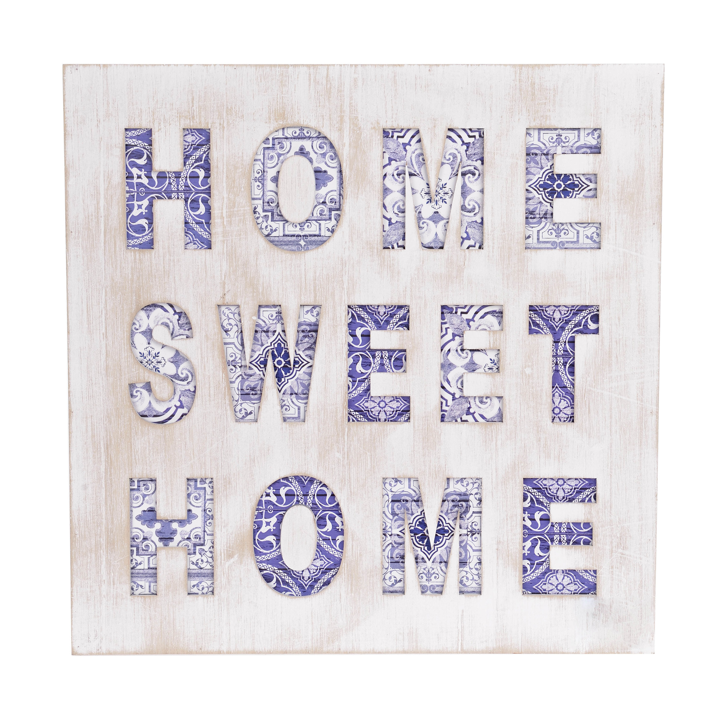 €25 WOODEN WALL DECO 'HOME' 40X2X40